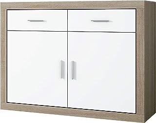 Mueble Aparador 2 Puertas + 2 cajones Buffet para Cocina y Comedor Modelo Lara Acabado en Color Cambria y Blanco Medid...
