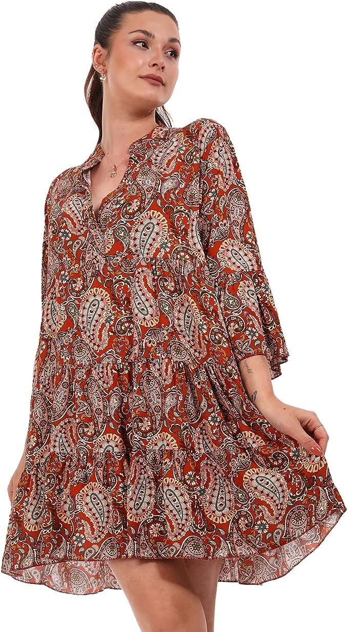 YC Fashion & Style Damen Tunika Kleid Sommer mit Patchwork Muster Boho Look  Partykleid Freizeit Minikleid oder Strandkleid HP9 Made in Italy