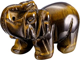 Top Plaza 2 Inches Tiger Eye Stone Elephant Figurines Reiki Healing Crystal Stone Crafts Statues Elephant Gifts Collectibl...