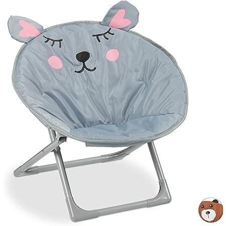 Relaxdays, souris Chaise Lune Enfants, filles et garçonnets, intérieur et extérieur, fauteuil pliable, polyester, fer, 1 élément