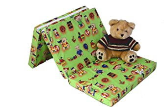 Best For Kids madrass för resesäng 120 x 60 x 6 cm inkl. Transportväska barn-rullmadrass barnmadrass i 3 färger (grön)
