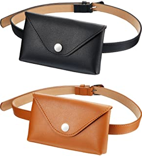 Tatuo 2 Pieces Women's Leather Belt Fanny Pack with Removable Belt Fashion Waist Pouch Belt Bags, Coffee and Black