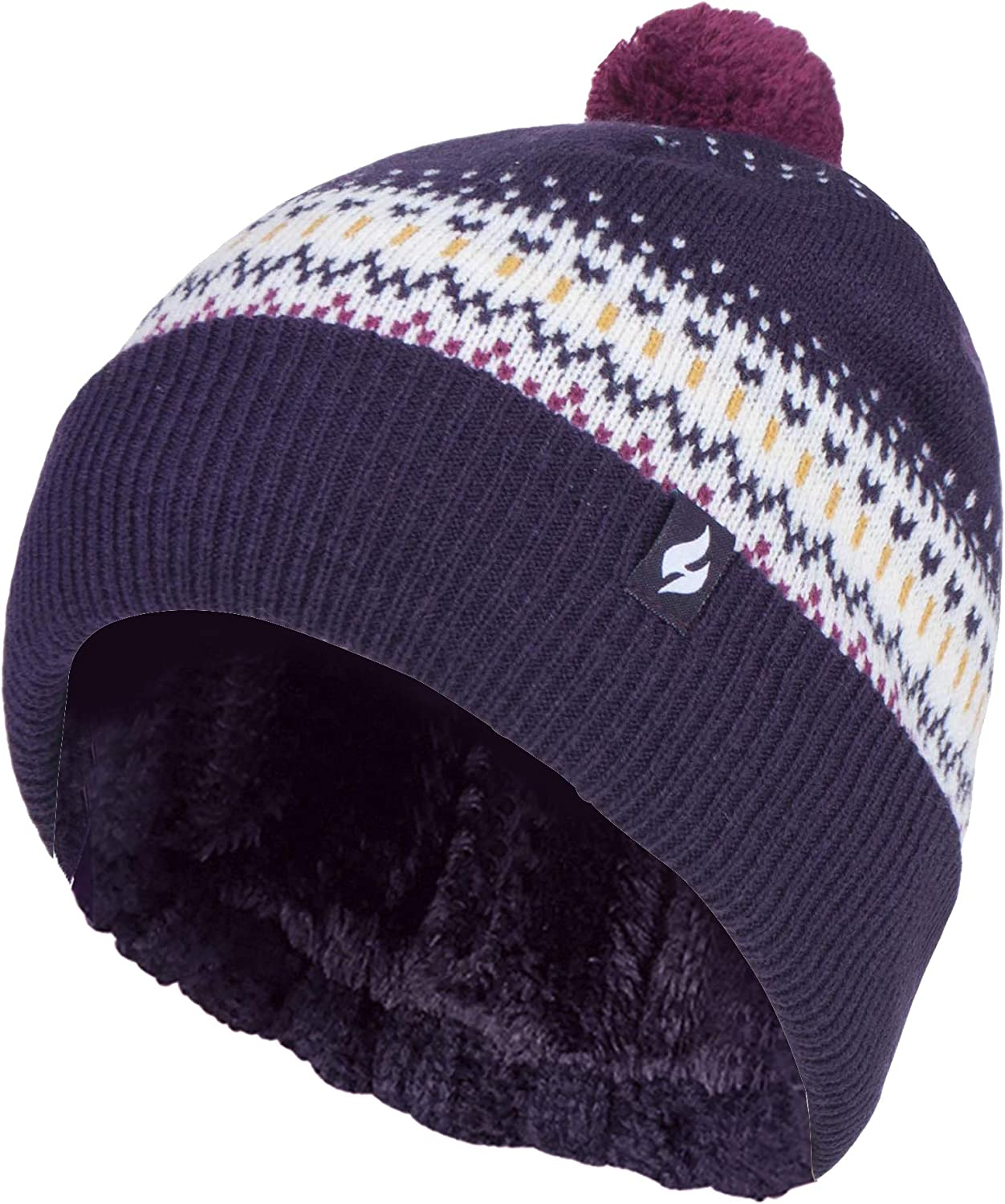HEAT HOLDERS - Womens Retro Knit Thermal Beanie Bobble Hat with Small Pom Pom