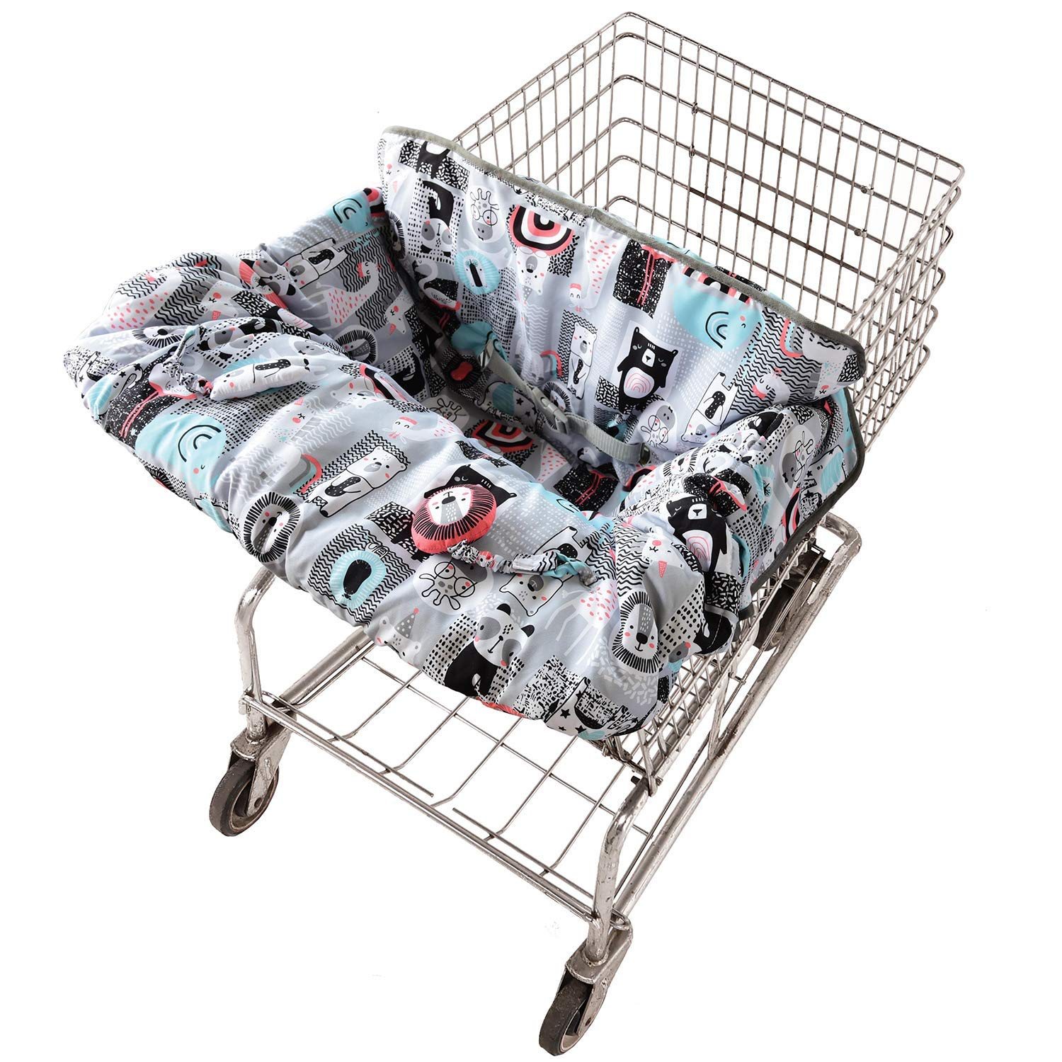 Travel Bug Baby & Toddler 2-in 1 Reversible Cover for Shopping Carts & High Chairs with Toys, Universal Fit, Washable