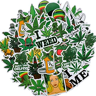 Zonon 100 Pieces Funny Weed Stickers Green Weed Graffiti Decals for Water Bottle Vinyl Waterproof Mixed Leaves Stickers fo...