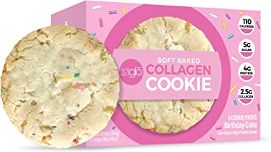 321glo Collagen Protein Cookies, Soft-Baked Cookies, Low Carb and Keto Friendly Treats for Women, Men, and Kids (6-PACK, B...