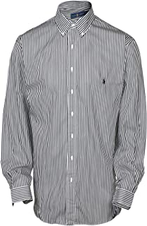 Polo Ralph Lauren Men's Big & Tall Stripe Button Down Shirt-Black/White