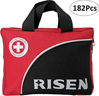 Risen Compact First Aid Kit with 182 Piece Essential First Aid Supplies, Lightweight Emergency First Aid Kit for Travel Home Business Office School Boat Hilking Camping Sport Car Mini Survival Kit