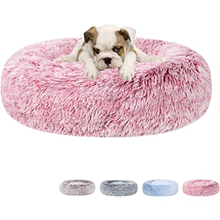 Calming Fluffy Comfy Bed for Dog and Cat Lacher Donut Pet Bed Round Cushion Marshmellow Faux Fur Cuddler