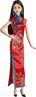 Barbie Signature Lunar New Year Doll (12-inch Brunette) Wearing Red Satin Cheongsam Dress with Accessories, Collectible Gi...