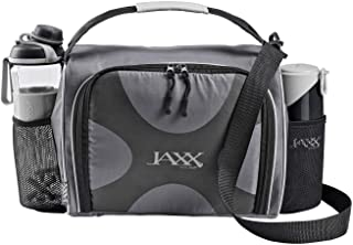 JAXX FitPak Deluxe Meal Prep Bag with Portion Control Container Set & Shaker (Various Colors) (Gray)