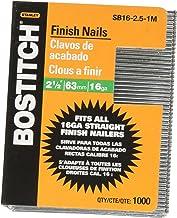 BOSTITCH Finish Nails, Bright, 2-1/2-Inch, 16GA, 1000-Pack (SB16-2.5-1M)