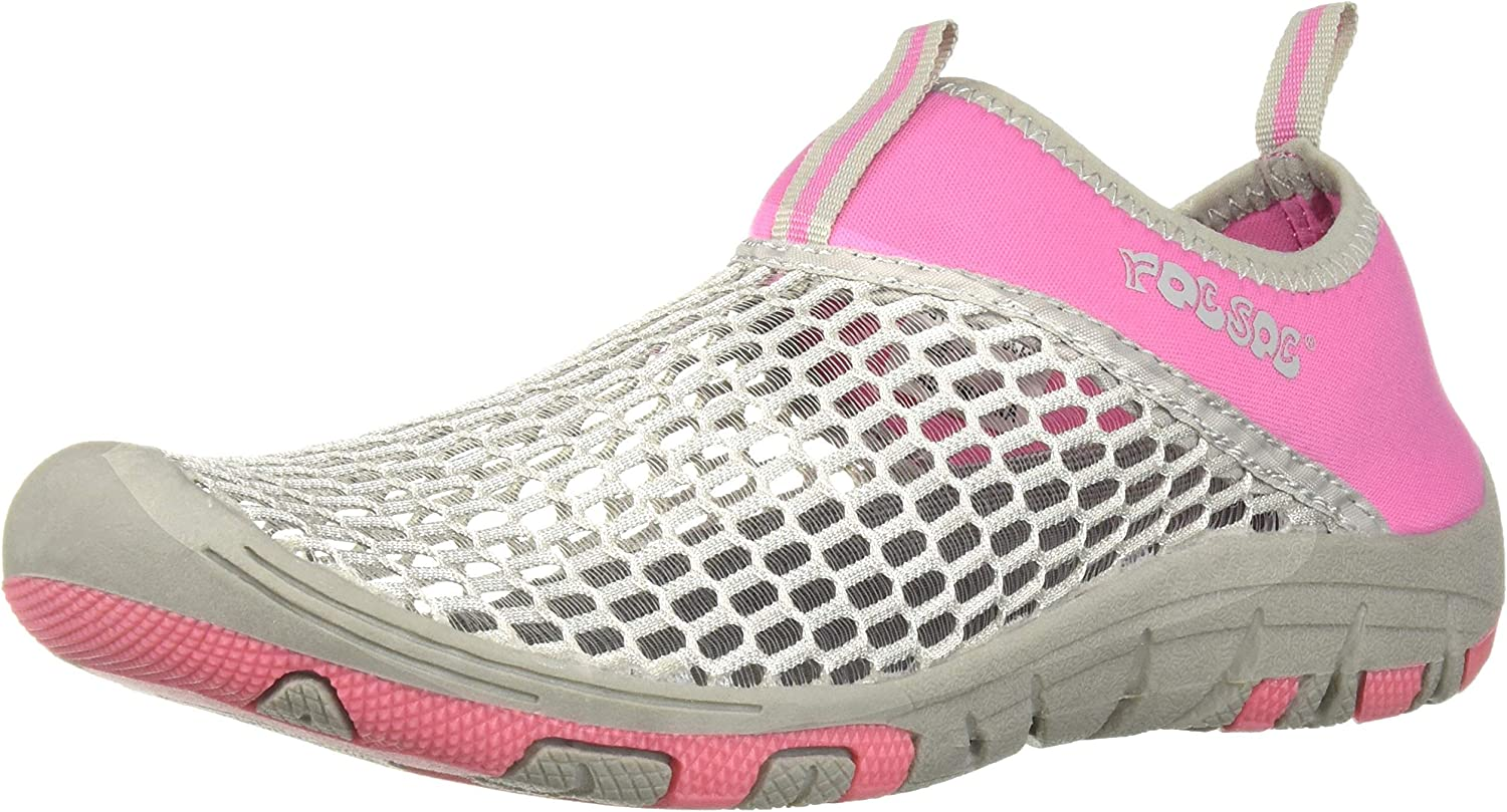 RocSoc Women's Water Sports Lightweight Triple Layer Mesh Shoes for Women, Pink - Easy On Off, Neoprene Collar, Durable 2 Tone Non Skid Grippy Rubber Outsole