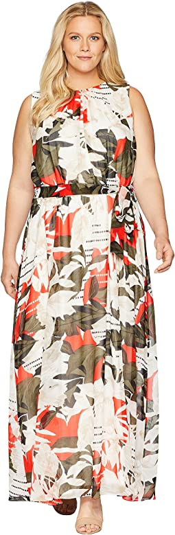 Plus Size Sleeveless Maxi w/ Tie Waist Dress