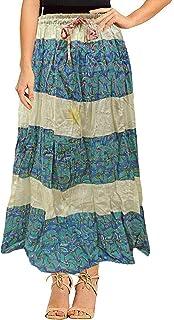 Peegli Gonna Lunga Blu Casual da Donna Indiana Indossare Quotidianamente Gonna Cucita in Cotone con Disegno Floreale