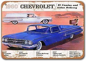 Sisoso Dorm Office Wall Decor 1960 El Camino Old Car Tin Sign Vintage Metal Bar Poster Garage Bar Game Room 16x12 inches