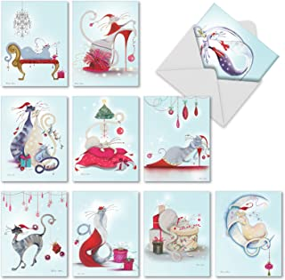 10 Assorted 'Catitude Festive Felines' Christmas Cards with Envelopes 4 x 5.12 inch, Boxed Season's Greetings Cards, Stationery with Illustrated Fancy Felines, Sassy Cats, Seasonal Decor M2301