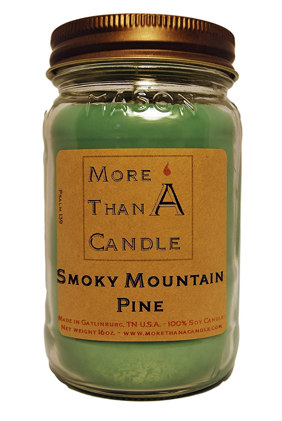 オート風景予防接種More Than A Candle SMP16M 16 oz Mason Jar Soy Candle, Smoky Mountain Pine