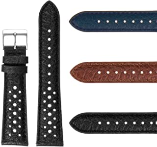 DASSARI Vintage 70's Perforated Leather Rally Watch Band Quick Release Strap 18mm 19mm 20mm 21mm 22mm