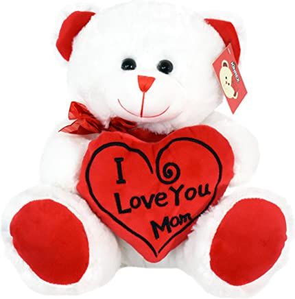 KINREX Soft Stuffed Teddy Bear - Happy Mother's Day Bear for Mom - I Love You Mom Bear - White with Red Message & Heart Pillow - 11.81 / 30 cm.