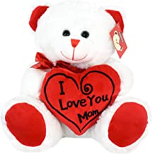 KINREX Soft Stuffed Teddy Bear - Happy Mother's Day Bear for Mom - I Love You Mom Bear - White with Red Message & Heart Pillow - 11.81