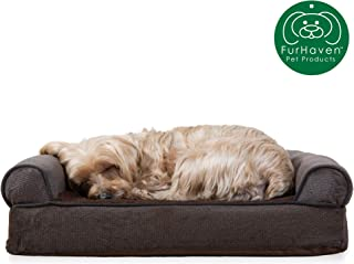 Furhaven Pet Dog Bed | Therapeutic Sofa-Style Traditional Living Room Couch Pet Bed w/ Removable Cover for Dogs & Cats - Available in Multiple Colors & Styles