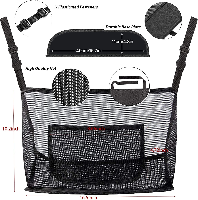 Classic, black Car Handbag Holder Between Leather Seat Back Organizer Mesh Large Capacity Bag Car Net Pocket Handbag Holder Driver Storage Netting Pouch Car Hooks For Purses And Bags Front Seat