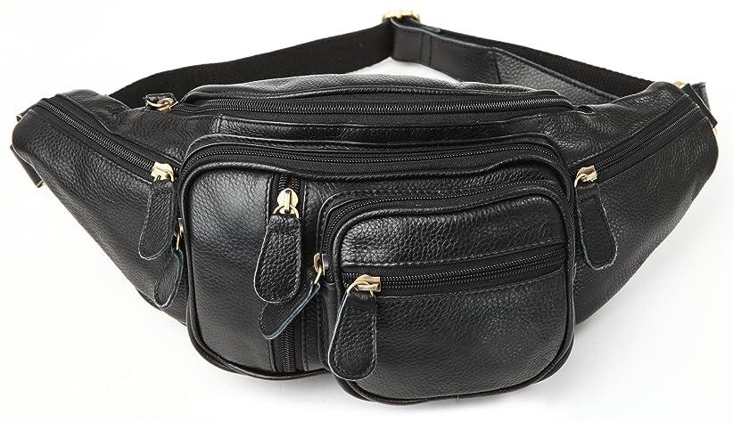 組み合わせる本土抜本的な(チョウギュウ)潮牛 ポケット多数 本革 レザー メンズ ウエストバッグ ヒップバッグ 2WAY 柔軟牛革 鞄 ボディバッグ ブラック