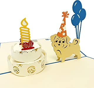 Dog & Cat Pet Birthday 3D Pop Up Greeting Card - for All Occasions - Love, Thank You, Get Well, Congrats - Amazing Gifts for Kids, Family, Friends - Fold Flat, Envelope Included (Pug Birthday)