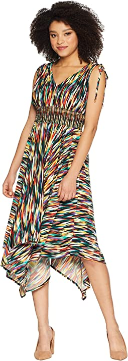 Rainbow Ikat Printed Jersey Hi Low Maxi with Ruched Shoulder Detail