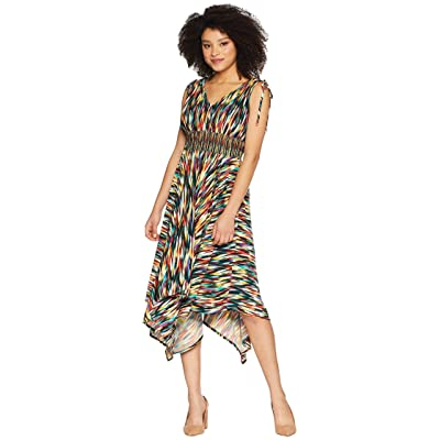 Maggy London Rainbow Ikat Printed Jersey Hi Low Maxi with Ruched Shoulder Detail (Black/Multi) Women