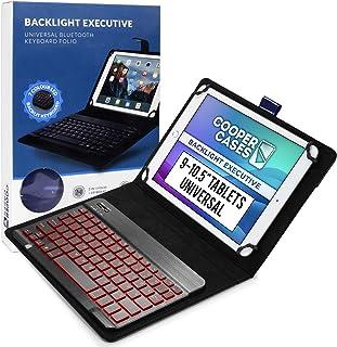جراب لوحة مفاتيح كوبر بإضاءة خلفية تنفيذية للجهاز اللوحي 9-10.5 بوصة | مقاس عالمي | لوحة مفاتيح بلوتوث 2 في 1 وفوليو جلد ،...