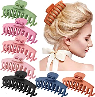 7 Pack Big Claw Clips, 4 Inch Giant Matte Hair Claw Clips for Thick Hair, Fashion Hair Styling Accessories for Girls with ...