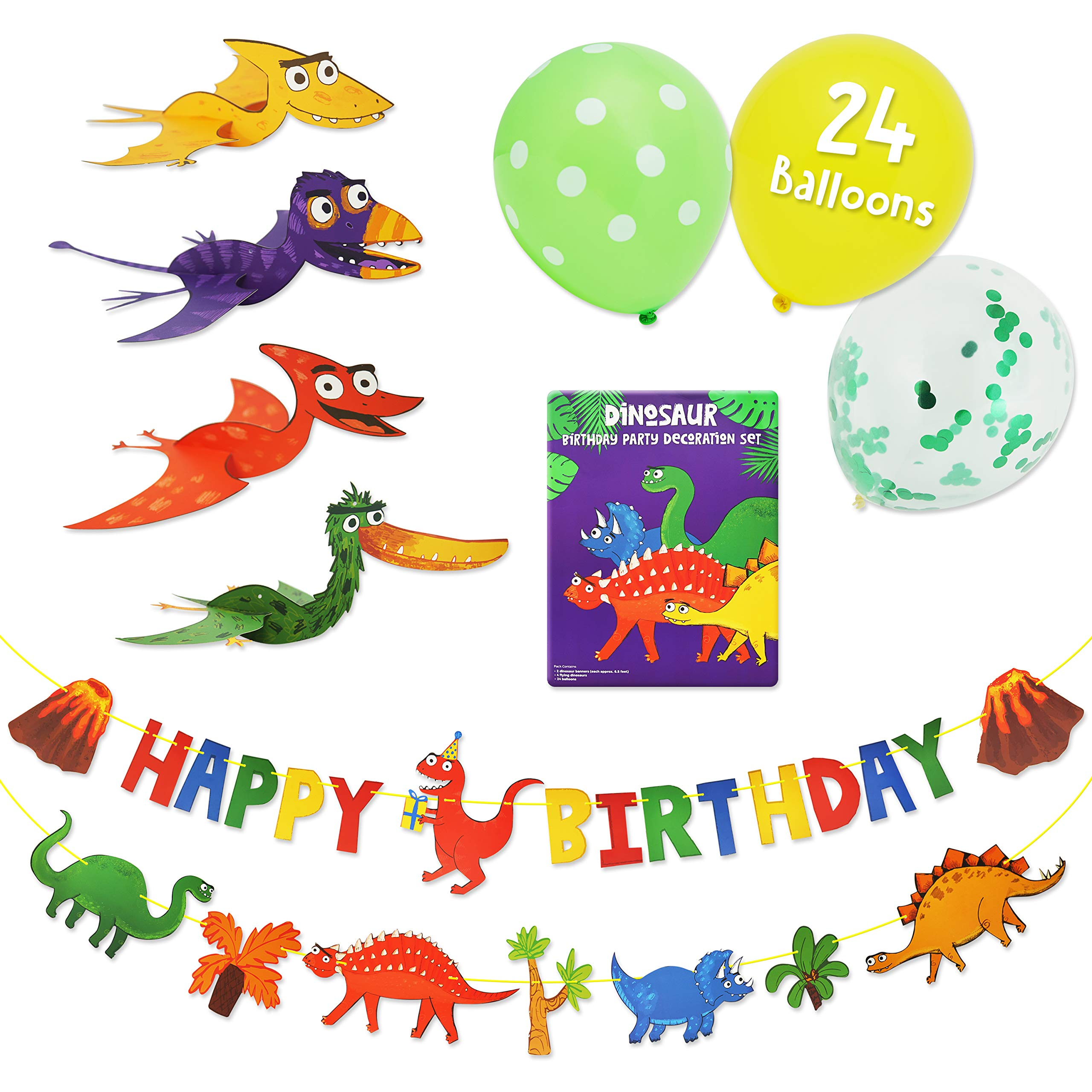 Decorations and Tableware 75 Pieces Dinosaur Party Supplies Set Party In A Box Serves 16 Dinosaur Happy Birthday Banner with Confetti Balloons Disposable Tableware Set