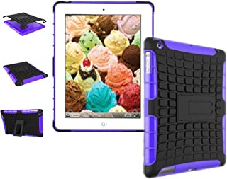 New Ipad Case Cover Shockproof Rugged Hard For New iPad 9.7 inch 2017 Version Model numbers A1822 A1823 MP2G2LL/A MP2J2LL/A MPGT2LL/A MPGW2LL/A MP2F2LL/A MP2H2LL/A (Black + purple )