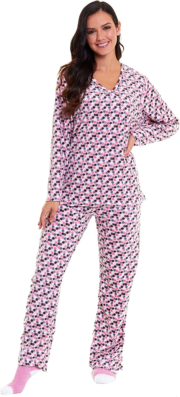 Insignia Mujer Oso Búho Pingüino Manga Larga Pijamas de Forro Polar Cálido de Invierno Ropa de Descanso