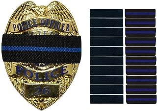 Bands of Mourning - Mourning Bands for Badges - Police - 10 Pack Blue Line and 10 Pack Black - 20 Mourning Bands Set - Show Unity for a Fallen Officer - Blue Lives Matter