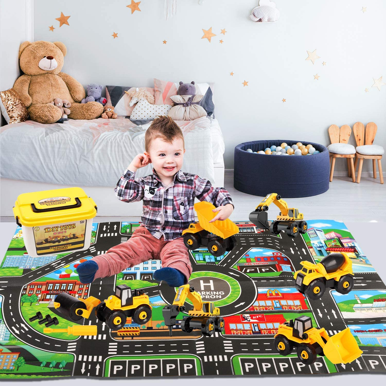 Construction Vehicle Toys Set with Car Mat Assembly Construction Cars