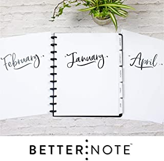 BetterNote 2020 Monthly Calendar Tabbed Dividers for Discbound Planners, 11-Disc Notebook, Fits Circa Letter, Arc by Staples, TUL by Office Depot, Letter Size 8.5