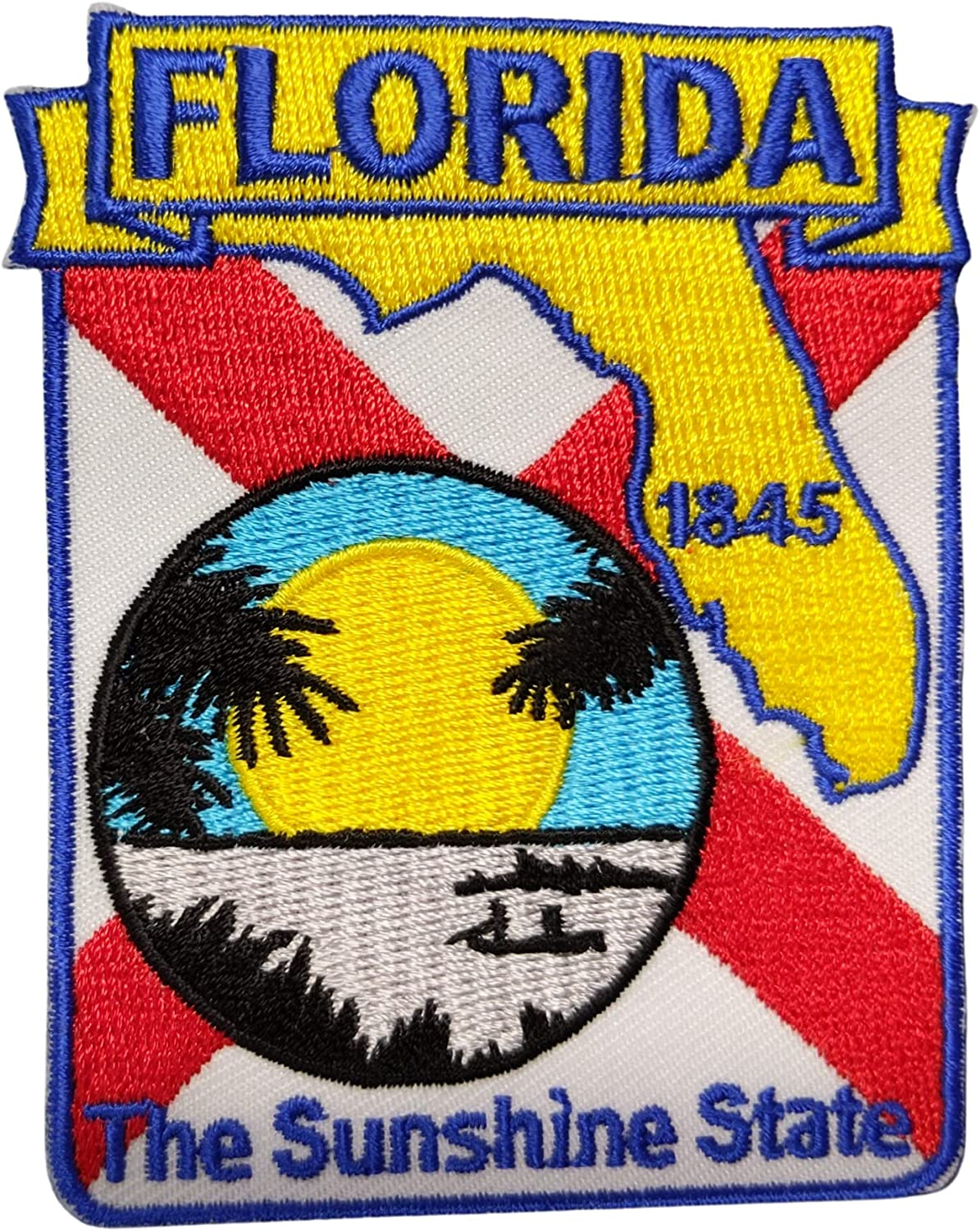 Florida State Shaped Map Max 66% OFF Embroidered with Large special price Iron-On Patch Adhesiv
