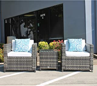 Patiorama Patio Porch Furniture Sets 3 Pieces PE Rattan Grey Wicker Chairs White Cushion with Table Outdoor Garden Furniture Sets