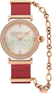 Cerruti 1881 Corniglia Analogue Rose Gold Case, White Mop Dial And Red Leather With Rose Gold Chain Watch For Women - CRM2...