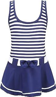 Chrysea Girls One-Piece Swimsuit Classic Navy Blue Stripe Swimwear with Skirt (6-7 Years)