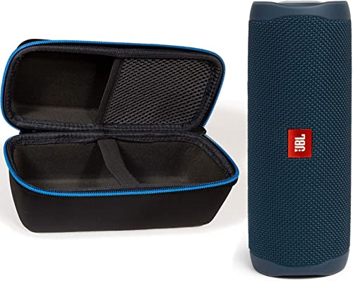 JBL Flip 5 Waterproof Portable Wireless Bluetooth Speaker Bundle with divvi! Protective Hardshell Case - Blue