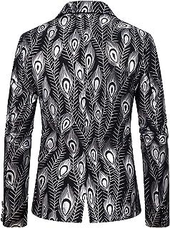 WHATLEES Men's Suit Jackets Print Blazer Suit Stylish Vintage Jacket Coat