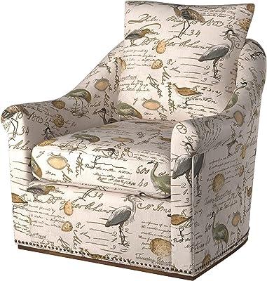 Sunset Trading Birdscript Swivel Chair, Cream/Brown/Gray/Green/Blue