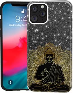 Mertak Glitter Case for Apple iPhone 11 Pro Max 10 Xr Xs X 8 Plus 7 6s Mandala Black Purple Lotus Crystal Gold Rose Silicone Bling Silver Slim Gold Buddha Sparkly Lightweight Cover Red Black Bohemian