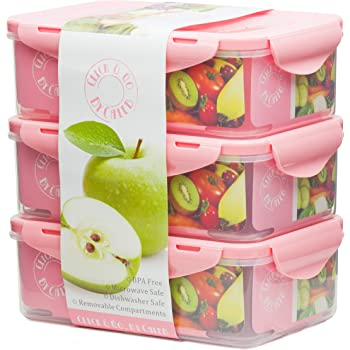 Pink Bento Box – 3 Lunch Boxes – 39oz – Adults Toddlers Kids & Baby Food Containers – BPA Free Plastic- Snap Lock Lids – Divided Removable Compartments –Air Tight & Leak Proof School Lunch Box