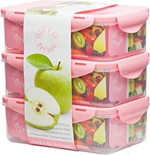 Bento Lunch Box - Set of 3 Boxes - Pink -39oz -Meal Prep Containers - BPA Free - Food Control Container- For Adults & Kids -Removable Divider Compartments - Microwave Dishwasher & Freezer Safe - Leak
