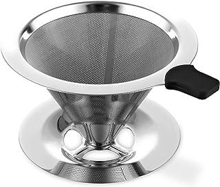 qipuneky, Filtre à Café, Filtre à Café en Acier Inoxydable, Goutteur de Filtre à Café Réutilisable, Filtre à Café sans Pap...